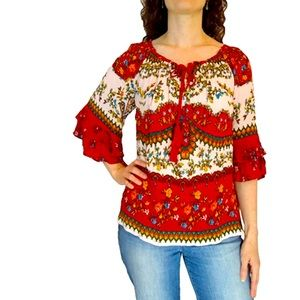 Bila Ladies Double Sleeve Ruffle Blouse NWT